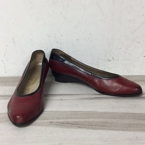 Ferragamo Red Leather Pointed Toe Low Wedge Shoe 7